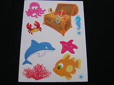 planche de stickers décoration enfant  theme de la mer poisson