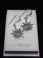 Sterling Silver 925 Earrings Celtic Tribal Sun Drop Dangle Earrings Gift Boxed