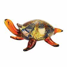 "(D) Handcrafted Murano Art Glass Turtle Figurine 5.5"" L, Amphibian Sculpture"
