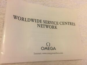 Omega Operating Worldwide Service centres Network Booklet. 1989, Rare!