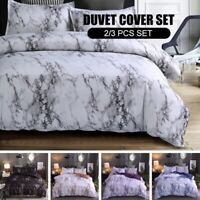 Marble Print Comforter Duvet Cover Pillowcase Set Bedding Twin Full Queen King