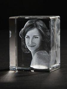 3D Laser Foto im  Glas Block Milano 50x45x30mm Glasfoto Bilder Geschenk