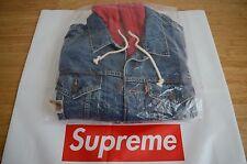 Supreme x Levi's Fleece Hood Trucker Jacket Denim Red size M medium SS17