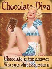 Grande Cioccolato è la risposta DIVA Divertenti Novità Retrò Vintage Cartello in metallo latta