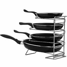 4 Tier Chrome Metal Frying Pan Rack Kitchen Pot Organizer Stand Holder Shelf New
