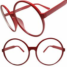 Oversize Vintage Retro Style Clear Lens Eye Glasses Round Red Fashion Frame
