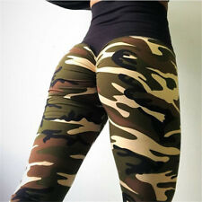 Women Camo Yoga Pants Hip Push Up Leggings Fitness Workout Stretch Gym Trousers