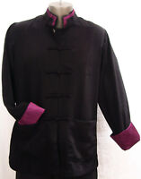 Men's Rayon Silk Mandarin Collar Jacket w/Contrast Color Trim on Collar & Cuffs