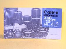 Original(!) Canon INTERCHANGEABLE LENSES FL INSTRUCTIONS - in English