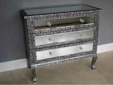 Vintage Style Embossed Mirrored Set of Drawers Cabinet Table Statement Piece