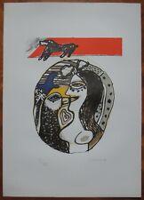GUILLAUME CORNEILLE litografia del 1975 titolata ''DIALOGO CON L'UCCELLO'' (16a)