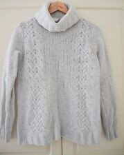 WHITE COMPANY - Cream Cableknit Roll Neck 100% Merino Wool Jumper - size M / 12