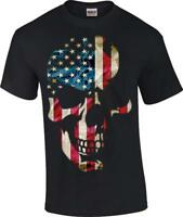 Men's Black American Flag Skull T-Shirt Americana US Flag Sizes S-6x