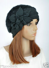 Rabbit Fur & Wool Women's Winter Dress Hat Beanie Cap Beautiful Flower All-Black