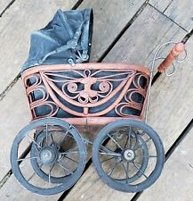 Old Baby Carriage Vintage Baby Buggy. Wicker Wood Super Rare Estate Sale Find