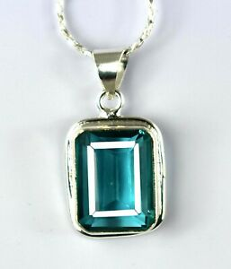 925 Sterling Silver Green Topaz 37 Ct Emerald Cut Pendant With Free Chain Z4914