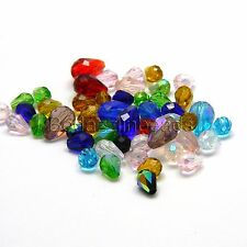 Lot of 50 Assorted Color & Size Faceted Glass Teardrop Shaped Tear Drop Beads