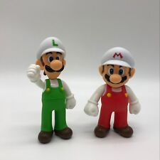 2X New Super Mario Bros. Fire Mario & Fire Luigi PVC Plastic Figure Toy 5""