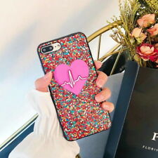 Bling Glitter Red Heartbeat Slim Soft TPU Case Cover For iPhone X 8 7 6S Plus 6