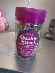 Vintage Mackintosh's Quality street jar and vintage chocolates wrappers