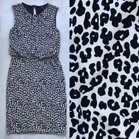 NEXT Animal Print Dress Black/Ivory UK 10 Elastic waist Sleeveless A6
