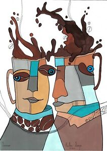 original painting A3 101SO art Mixed Media Surrealism stylization coffee cups
