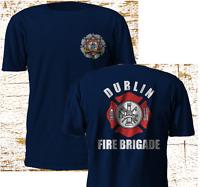 New Dublin Firefighter Fire Brigade Service Firearm Uniform Navy T SHirt S-4XL