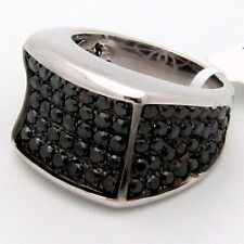 Mens Black Diamond Cocktail Ring 14K White Gold 2.95ct Size 10.5 Fancy Pave Set