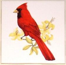 "Cardinal Song Bird with yellow flowers Ceramic Tile 4.25"" Kiln Fired Accent"
