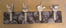 METAL DANDIE HANDS WITH SKULLS Dungeon Gothic Biker Bag Coat hook hanging Rack