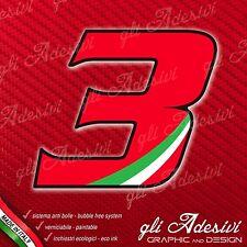 Adesivo Stickers NUMERO 3 moto auto cross gara Rosso & Tricolore