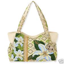 Paul Brent Canvas Medium Tote Bag Garden Lily Beige Vacation Resort Bag NWT