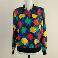 Vintage 1980s Womens Career Blouse Office Wear Abstract Print