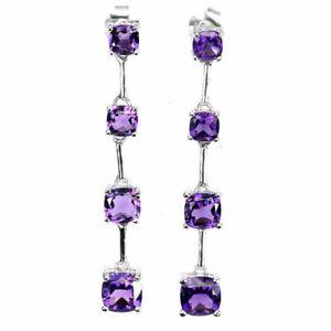 Earrings Purple Amethyst Genuine Natural Gems Solid Sterling Silver Drop Design