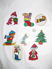 8 CHILDRENS PLASTIC CHRISTMAS ORNAMENTS - ANGEL SANTA TREE CANDY CANE SNOWMAN