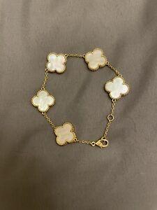 Van Cleef & Arpels 5Mother of Pearl Motif 18k Y. Gold Vintage Alhambra Bracelet