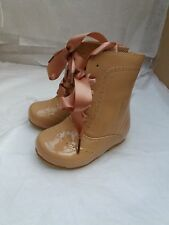 BABIES TODDLERS STUNNING ZIP UP ANKLE BOOTS WITH RIBBON TIE FRONT SIZE 3