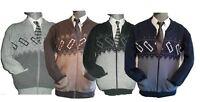 Zip Up Cardigans Mens Gents  Sweater Jumper cardigan Grandad S M L XL 2XL