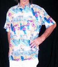 "LOUD Hawaiian shirt, blue/mauve/yellow with palms/boats/surfers, XXL, 56"", new"