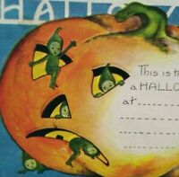 Vintage Halloween Invitation Postcard Whitney Green Pixies Elves 1921 Embossed