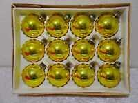 12 X DDR Lauscha Vidrio Bola Navidad Vintage Alrededor De 1960/70 Golden 7 CM