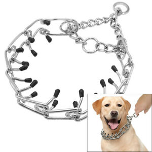 Metal Steel Martingale Chain Dog Collar Training Prong-Pinch Adjustable Choke
