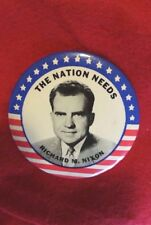 "1960 ""The Nation Needs Richard M. Nixon"" Political Pin Run Against J. F. Kennedy"