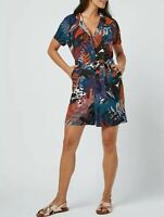 NEXT Navy Leaf Print Cotton Blend Utility Playsuit Size 16 BNWT RRP £34 Summer