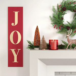 "10"" x 40"" Joy Wood Wall Sign Panels Dark Red - Threshold"
