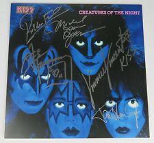 "KISS Signed Autograph ""Creatures Of The Night"" Album Vinyl LP x5 Paul Stanley +"