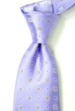 $295 KITON Napoli 7 Fold Satin Lavender w/ Woven Medallions Neck Tie NWT 3.5W