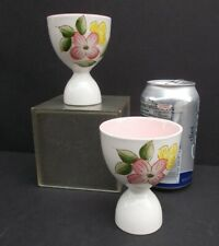 Two Vintage Egg Cups Double Egg Cup Floral Pattern Pink Dogwood Unmarked
