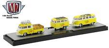 1:64 M2 Machines *MELLOW YELLOW TW05* 1960 VW Truck Micro Bus & Trailer NIB