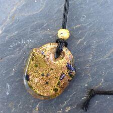 Murano glass gold foil bronze blue pendant. Irish made gift in organza bag